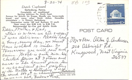 Gettysburg, PA - Dutch Cupboard Postcard Message