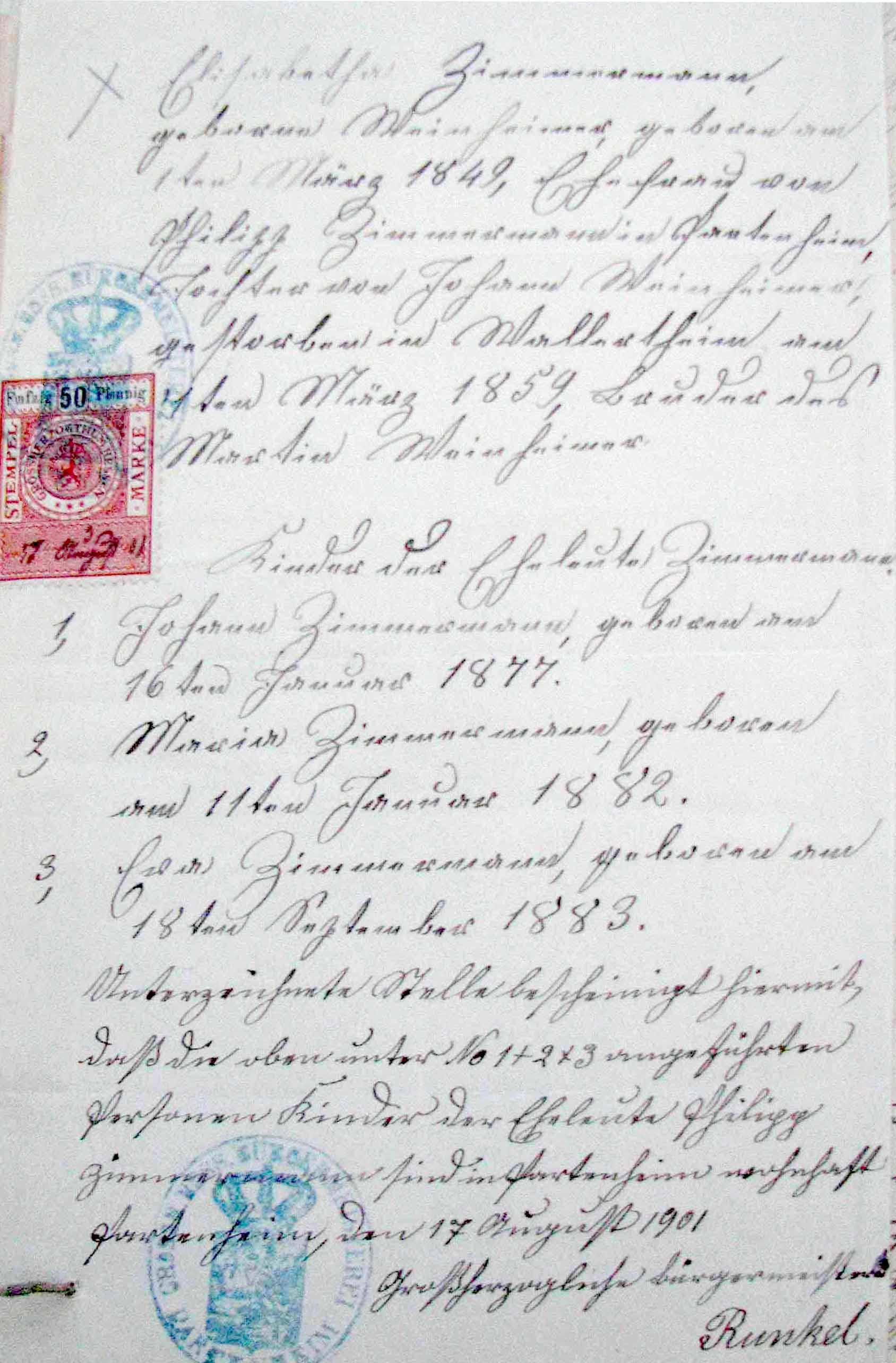 Example of documentation found in consular estate files